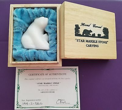 NEW in BOX Hand Carved Star Marble Stone Grizzly Bear & Cub Carving COA Canada
