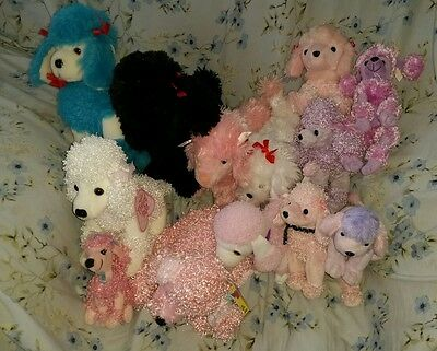 HUGE Lot Adorable Plush Stuffed Poodle Dogs Some Vintage Some NWT