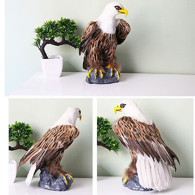 "Handmade Leather Feather Animal Figurine Decor Toy Eagle Bird 12"" /dw148"