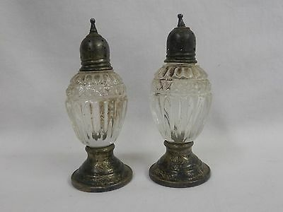 Vintage Pair Of Sterling Silver Crystal Salt & Pepper Shakers Weighted