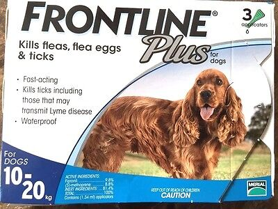 Frontline Plus 3 Doses For MEDIUM Dogs 23-44 lbs Blue FREE SAME DAY SHIPPING