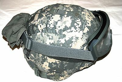 New Original Us Army Msa Ach Mich Combat Hel Met With Goggles - Large