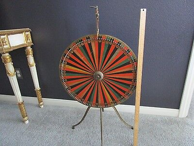 Authentic Vintage Gaming Spin wheel Gambling On Ornate Brass Stand