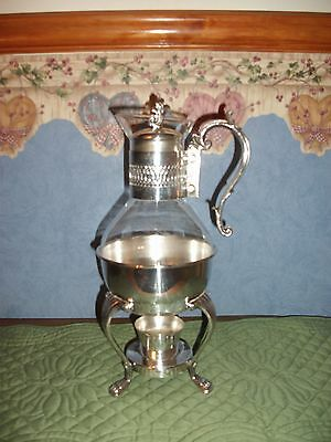 Vtg. F. B. Rogers Silver Plated Glass Coffee/Tea Serving Carafe with Warmer
