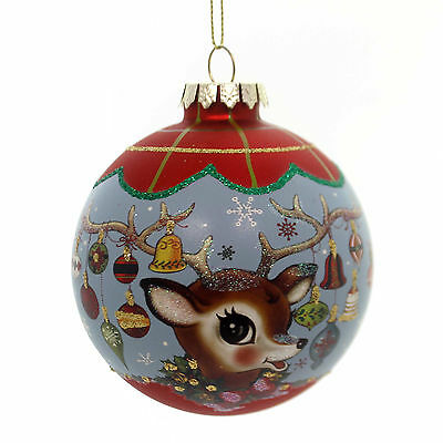 Holiday Ornaments SANTA/REINDEER BALL ORNAMENT Antlers Christmas Td1399 Blue