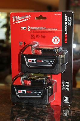 Milwaukee 48-11-1822 M18 18-Volt Red Lithium Battery XC 2-Pack New Sealed