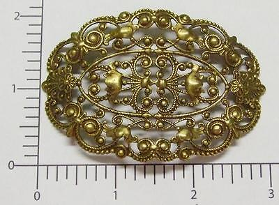 24433         Brass Oxidized Large Victorian Filigree Jewelry Finding