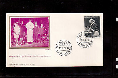 Vatican 1964 Souvenir Cover, Audience Of Paul Vi To Mrs. Robert Kennedy