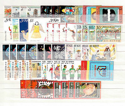 ST. KITTS LOT OF 53 DIFFERENT STAMPS MINT NEVER HINGED Scott Value $62.90 !!