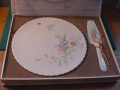 "Mikasa Bone China ""Something Blue"" 11 1/4 inch Cake Plate and Server, New in Box"