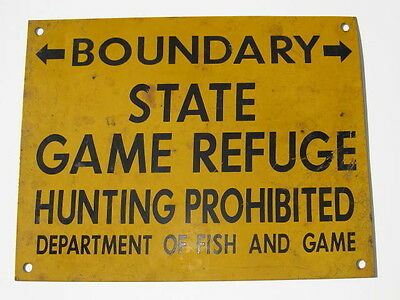 California Department of Fish and Game Sign 1930's Authentic Vintage Hunting EXC