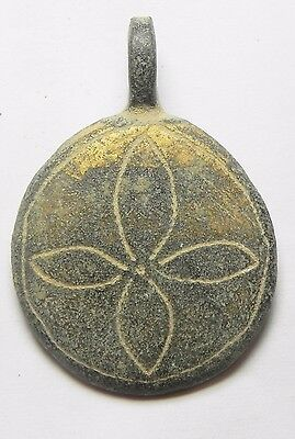 Zurqieh -  Ancient Holy Land. Byzantine Bronze Pendant.  600 - 800 A.d