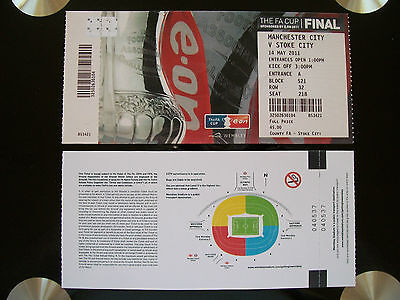2011 F A Cup Final Ticket Manchester City v Stoke City in mint condition.