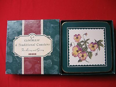 CLOVERLEAF Scented garden 6 traditional coasters floral with box made in England