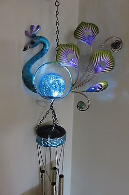 PEACOCK SOLAR WIND CHIME IRON FUSION GLASS FEATHERS garden fence BLUE YARD DECOR