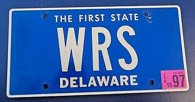 "Delaware Vanity License Plate "" W R S "" Warren Wes William Stevens Smith Stone"