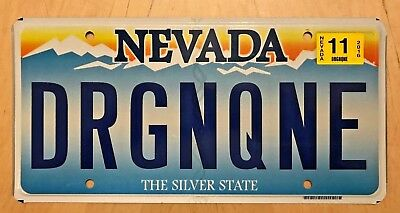 """Nevada Vanity License Plate """" Drgnqne """" Dragon Queen"""