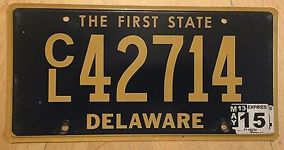 "Delaware Commercial Truck Semi License Plate "" Cl 42714 "" De The First State"