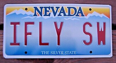 """NEVADA Vanity License Plate """" I FLY SW """" PILOT FLYING SOUTHWEST AIRLINES AIRLINE"""