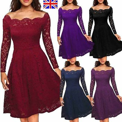 UK Women 1950s Retro Style Evening Party Swing Skater Classic Vintage Lace Dress