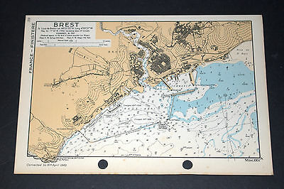 Invasion Planning of France BREST - WW2 Naval Map 1943