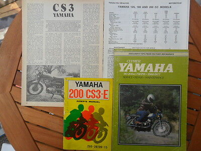 Rare Yamaha Cs3 Rider's Manual, Clymer Manual, Service Guide & Road Test Report