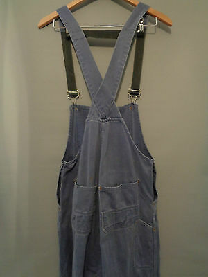 Vtg French indigo blue work trousers bibs hobo overalls dungarees chore pants