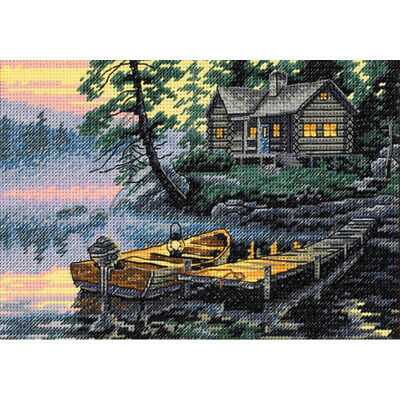 """Dimensions/Gold Petite Counted Cross Stitch Kit 7""""X5""""-Morning Lake (18 Count)"""