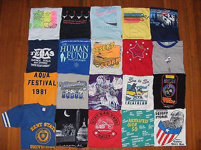 LOT of 20 vtg T SHIRT TEES 70s 80s 90s screen stars stedman 50/50 thin soft