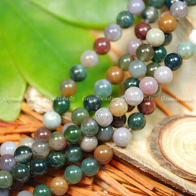 """Wholesales 10 strands x 6mm Indian Agate Gemstone Beads Round Shape 15.5"""" GB26"""