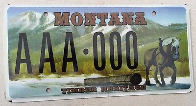 "Montana Sample License Plate "" Aaa 000 "" Mt Timber Heritage Horse Lumber Trees"