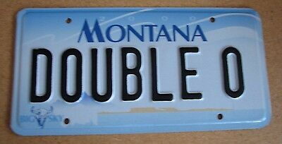 "Montana Vanity License Plate "" Double O "" 007  Oh 7 James Bond Sean Connery"