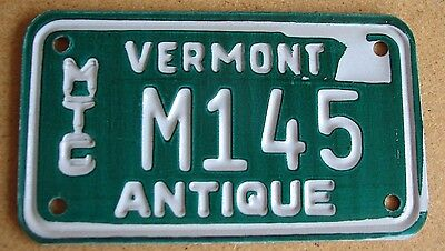 "Vermont Antique  Motorcycle Cycle  License Plate  "" M 145 ""  Vt Historic Vintage"