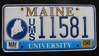 """Maine University College Graphic License Plate """" Ums  11581 """" Me"""