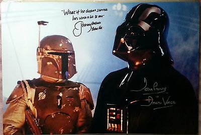 """JEREMY BULLOCH DAVE PROWSE HAND SIGNED HUGE """"18x12"""" STAR WARS PHOTO - SEE PROOF"""