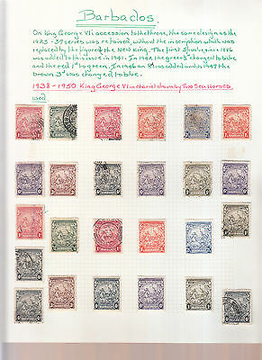 BARBADOS 1938-50 GEORGE 6th SEAHORSES MINT OR FINE USED