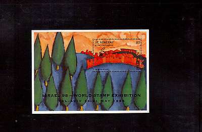 St. Vincent & The Grenadines 1998 #2589 S/s Vf Nh Israel Stamp Exhibition !!