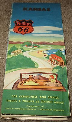 Vintage 1940's  Phillips 66 Petroleum Company Kansas / USA  Road Map