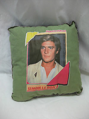 Rare Vintage 1980s Duran Duran Simon Le Bon Picture Cushion ~ Unused Green/Blue