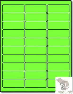 3000 Address Labels Amazon FBA 30 Per Sheet 30UP 2.625''x1'' Fluorescent Green