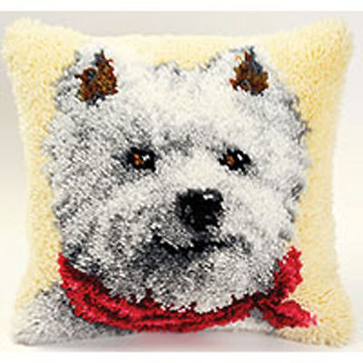 Westie Latch Hook cushion front kit by Vervaco 40x40cm latch hook canvas