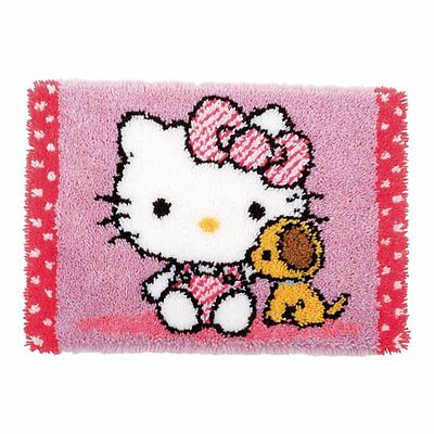 Hello Kitty With Dog Latch Hook Kit Rug Making Kit  by Vervaco 55x38cm inc tool