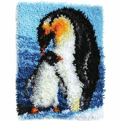 "Penguins Latch Hook Kit 15x20"" By Caron Wonderart. No Tool Included."