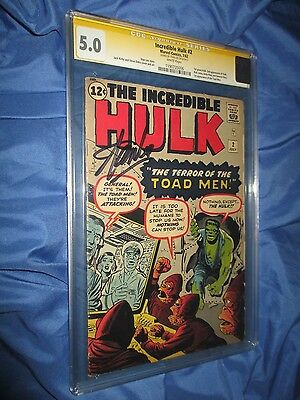 THE INCREDIBLE HULK  #2 CGC 5.0 SS Signed by Stan Lee  ~1st App. Green Hulk 1962