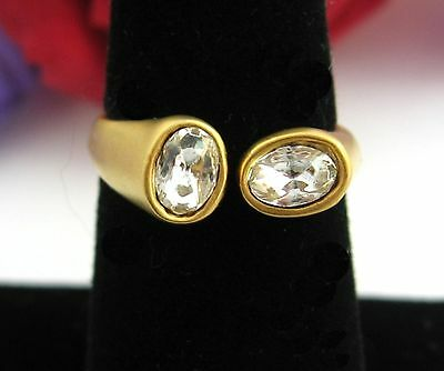 OVAL RHINESTONES In Front Ends  RING Vintage  Matte Goldtone Wrap Size 7.5