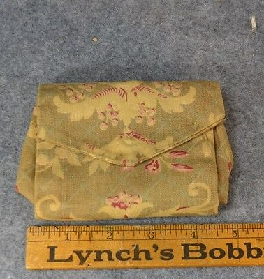 sewing roll up pocket case needles pins handmade heavy cotton antique 1800