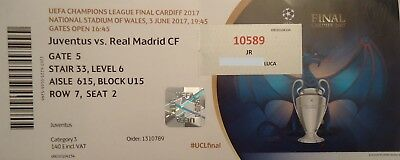 TICKET with names UCL Final 2017 Juventus FC vs Real Madrid # Cardiff