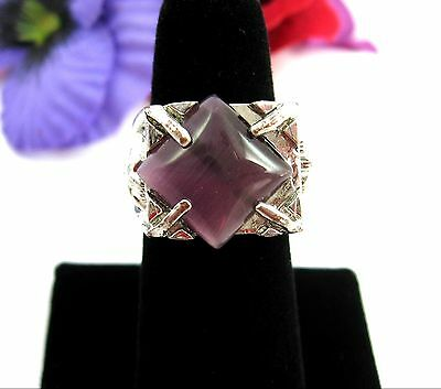 FACES & PURPLE Moon Stone GLASS Gem RING Vintage Silvertone 6 1/4  Size 6.25