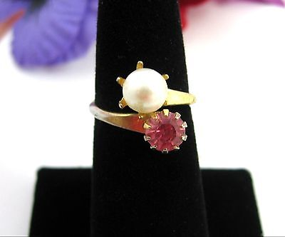 Faux PEARL and PINK Rhinestone WRAP RING Vintage Goldtone Size 6 Costume Jewelry