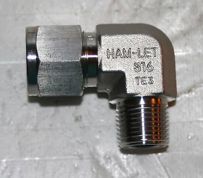 """1/2"""" Tube x 3/8"""" MNPT SS 90° Male Elbow Fitting Ham-Let  769LSS1/2X3/8"""